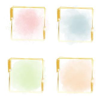 Salpicaduras de acuarela pastel multicolor con marco dorado cuadrado y brillo para banner
