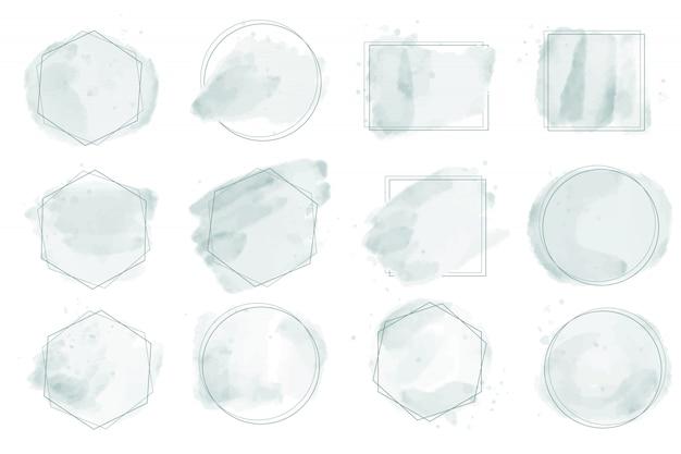 Salpicaduras de acuarela verde pastel con marco geométrico para colección de logotipo o banner