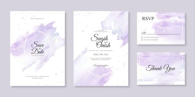 Salpicaduras de acuarelas y líneas geométricas para una elegante plantilla de tarjeta de invitación de boda