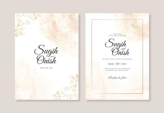Salpicaduras de acuarelas y pinturas de hojas para plantillas de invitación de boda