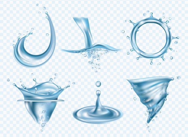 Salpicaduras de agua. plantilla de imágenes realistas de agua de lavado líquido líquido clima lluvioso gotas de lluvia