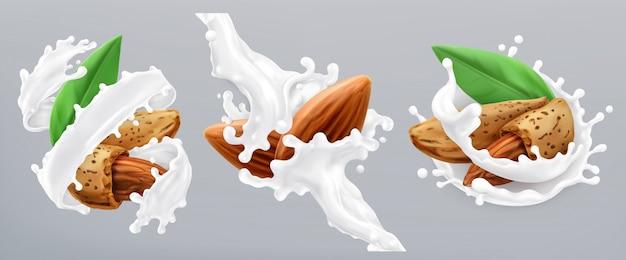 Salpicaduras de almendras y leche. icono realista 3d