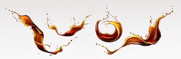 Salpicaduras de bebidas de ron o whisky de café de cola