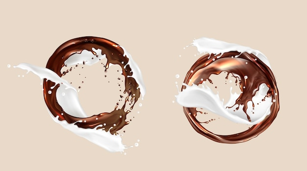 Salpicaduras de café y leche, mezcla de chocolate y lácteos, torbellinos redondos. remolinos de líquidos marrones blancos con salpicaduras de gotas, marcos, elemento dinámico