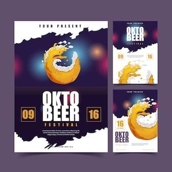 Salpicaduras de cerveza para la colección de carteles oktoberfest