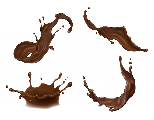 Salpicaduras de chocolate caliente, cacao o café con gotas, manchas, borrones