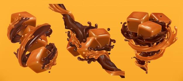 Salpicaduras de chocolate y caramelo, vector realista 3d