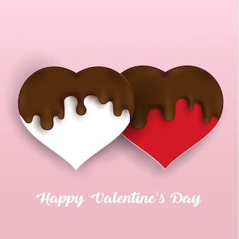 Salpicaduras de chocolate y formas de amor.