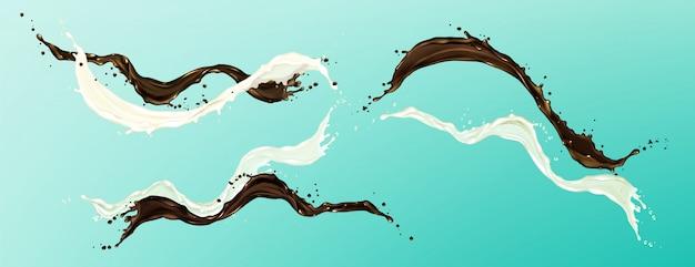 Salpicaduras de chocolate y leche, flujo de crema y cacao líquido, café