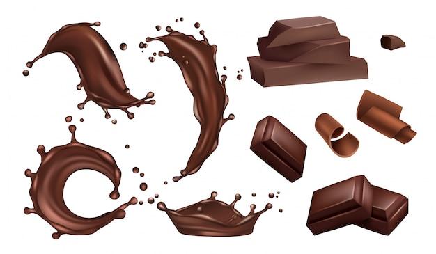 Salpicaduras de chocolate realistas, flujos y barras sobre fondo blanco.