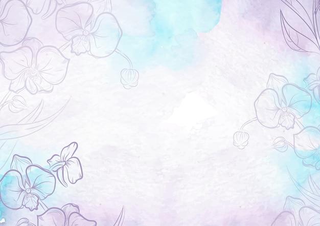 Salpicaduras de color púrpura y fondo acuarela de flores dibujadas a mano
