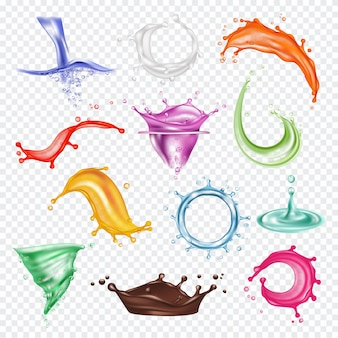 Salpicaduras de colores. pintura líquida o jugo fresco rojo naranja verde azul salpicaduras plantilla fotorrealista. salpicaduras de pintura líquida, gota de jugo e ilustración fresca