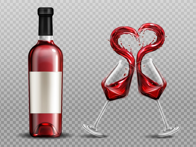 Salpicaduras de corazón de vino tinto en copas y botella cercana. vasos llenos con alcohol bebida tintineo aislado