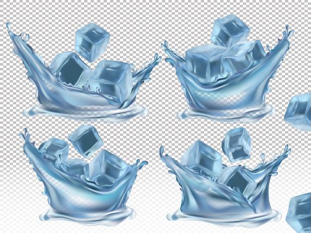 Salpicaduras de cubitos de hielo y agua