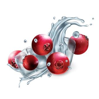 Salpicaduras dinámicas de agua con arándanos y cubitos de hielo.