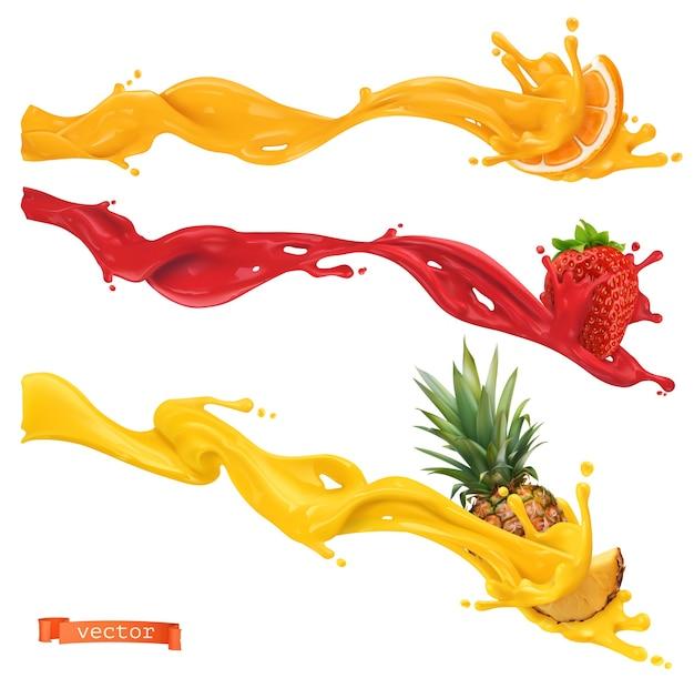 Salpicaduras dulces. naranja, fresa, piña. ilustración vectorial realista 3d