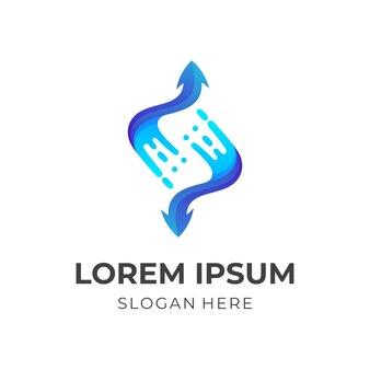 Salpicaduras de flechas, agua y flecha, logotipo de combinación con estilo azul 3d