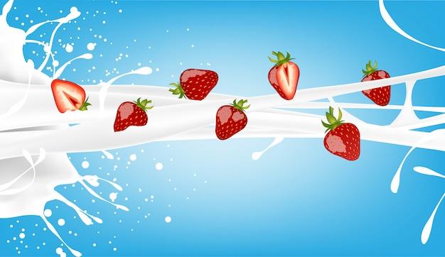 Salpicaduras de leche y fresa en azul