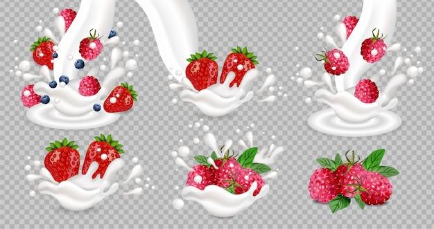 Salpicaduras de leche y yogur con frutas de baya