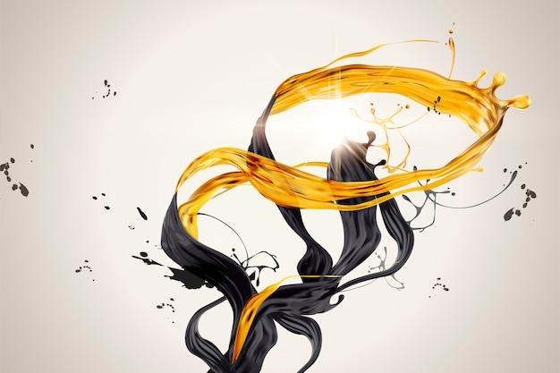 Salpicaduras de líquido dorado y negro en la ilustración 3d