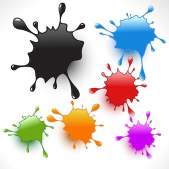 Salpicaduras de pintura de colores conjunto
