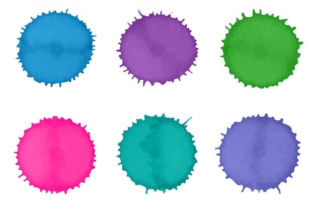 Salpicaduras de pintura colorida acuarela