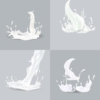 Salpicaduras realistas de líquido blanco con gotas ilustración vectorial aislado
