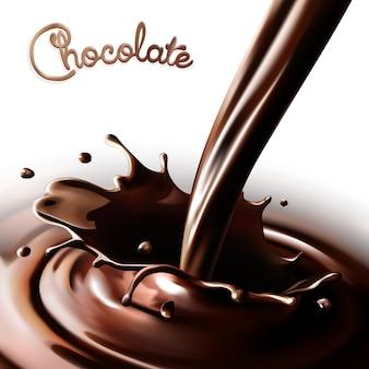 Salpicaduras realistas que fluye chocolate o cacao sobre un fondo blanco. elementos de diseño aislados