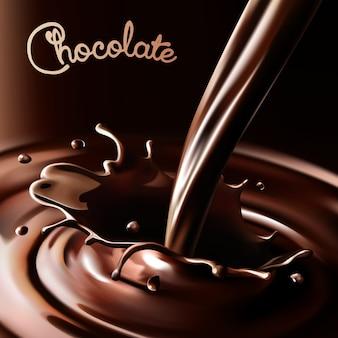 Salpicaduras realistas que fluye chocolate o cacao sobre un fondo oscuro. elementos de diseño aislados
