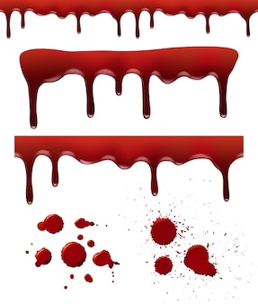 Salpicaduras de sangre. gotas de goteo rojo salpicaduras de sangre elementos líquidos pincel texturas plantilla realista
