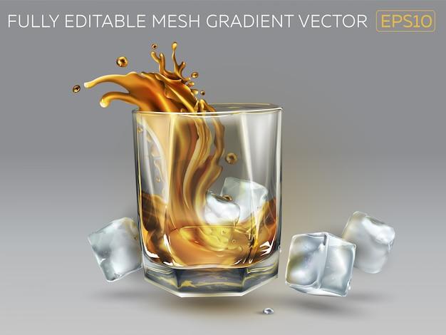 Salpicaduras de whisky en un vaso y cubitos de hielo.