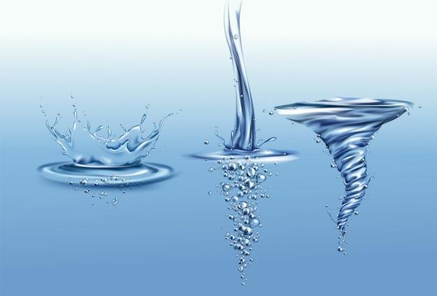 Salpique la corona con gotas y ondas en la superficie del agua pura, cayendo o vertiendo con burbujas de aire