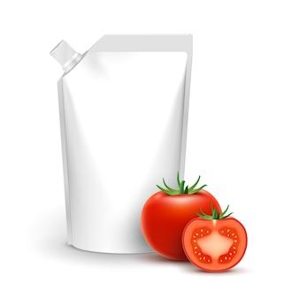 Salsa de botella de paquete de ketchup