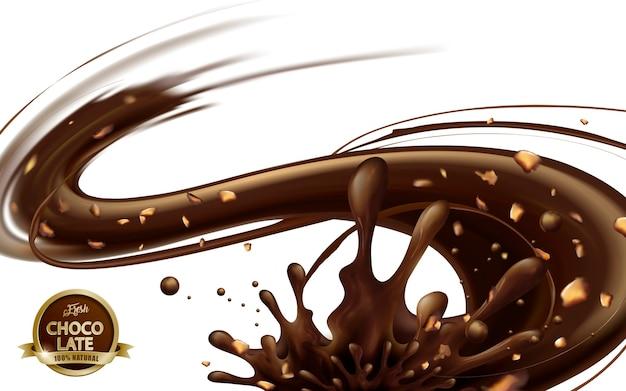 Salsa de chocolate que fluye con nueces aislado sobre fondo blanco.