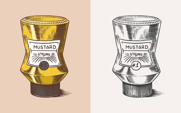 Salsa de envasado de mostaza en una botella con una etiqueta de condimento picante