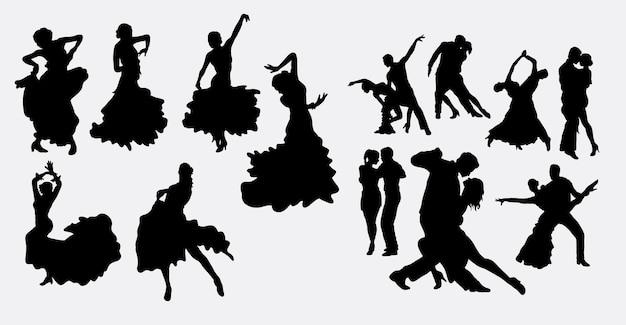 Salsa de flamenco y silueta de baile latino