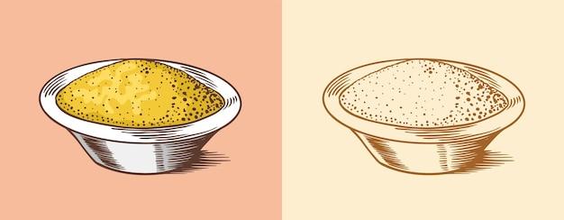 Salsa de mostaza o condimento picante o salsa para mojar
