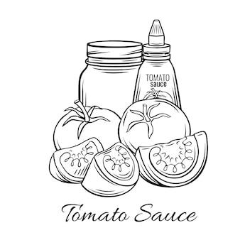 Salsa de tomate dibujada a mano,