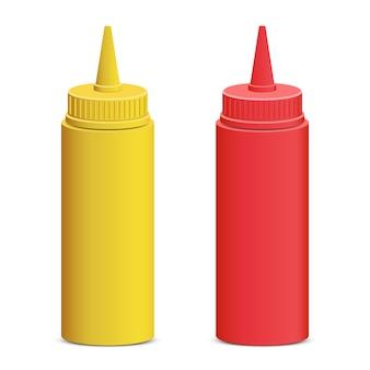 Salsa de tomate y mostaza botella ilustración sobre fondo blanco.