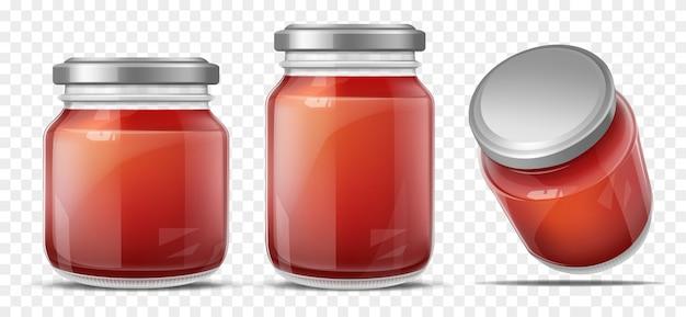 Salsa de tomate en vector realista de tarro de cristal