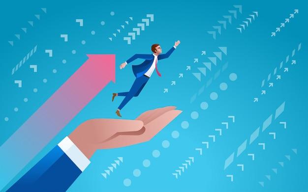 Salta al éxito. alcanzar la meta. ilustración de concepto de inicio de negocios