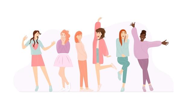 Saltando, cantando, bailando niña feliz con emoción positiva. casual joven mujer multirracial gritando, sonriendo tímida, riendo, coqueteando, saludando, sintiendo felicidad
