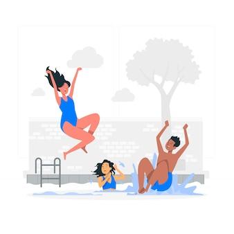 Saltando a la ilustración del concepto de piscina