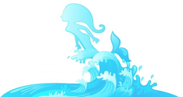 Saltando sirena fuera del agua