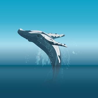 Saltar ballena jorobada de dibujos animados en el océano