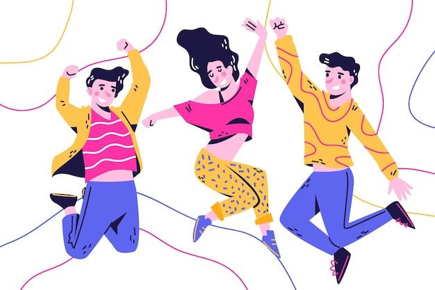 Saltar personas diseño dibujado a mano