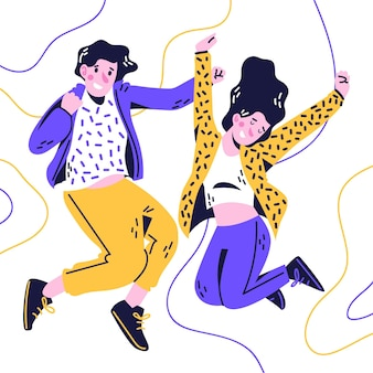 Saltar personas estilo dibujado a mano