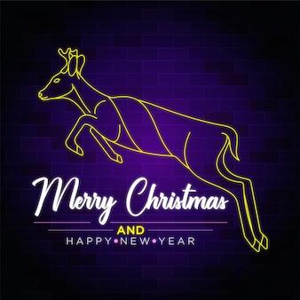 Salto de ciervo - feliz navidad y feliz año nuevo texto letrero de neón con ciervos saltando
