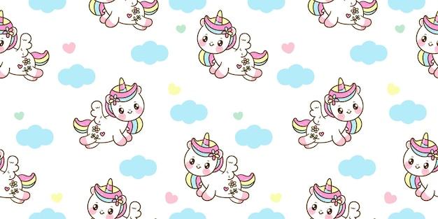 Salto de dibujos animados de pegaso unicornio de patrones sin fisuras con nube kawaii animal