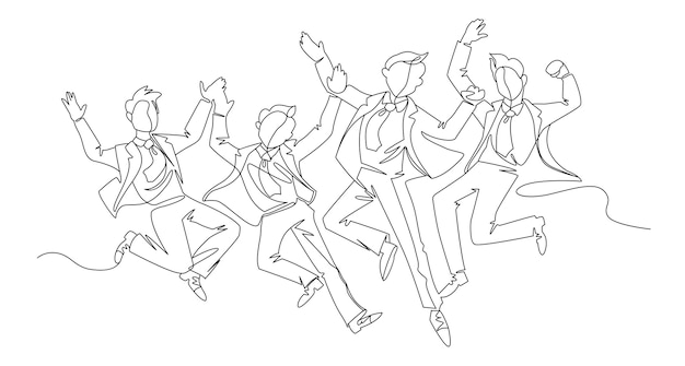 Salto empresario arte de línea continua. gente exitosa celebrando. concepto lineal de trabajo en equipo empresarial.